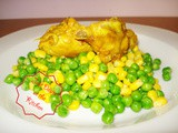 Salad with peas, sweet corn and Chicken Curry