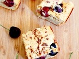 Roasted red cherry Greek yogurt coffee cake