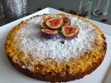 Almond and lime cake with ricotta fig and chocolate filling