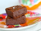 Dark chocolate and espresso soaked prune brownies