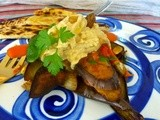 Moroccan Eggplant and Carrot with Hummus and Flat Bread