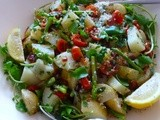 Potato and Asparagus Salad with Roasted Tomatoes and Proscuitto