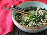 "Spicy Pork Soup with Kale and Japanese Sweet Potato ""Noodles"""