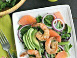 Spring Salad with Ruby Red Grapefruit, Avocado and Shrimp