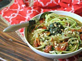 Vegan Zucchini Noodle Soup with Pesto