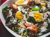 Couscous Salad with Chickpeas, Roasted Tomatoes and Boiled Eggs