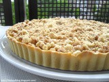 Rhubarb custard tart crumble topping