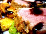 Herb Crusted Lamb with Minted Pea Pureé Roasted Parmesan Swede and a Sticky Red Wine Jus