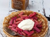 Roasted Rhubarb and Ginger Curd Pancakes