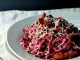 Beet Pasta Carbonara with Peas & Bacon