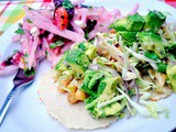 Chickpea Tacos with Cabbage Apple Slaw & Guacamole