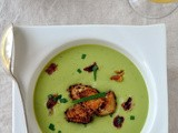 Chilled Pea Soup with Crispy Prosciutto & Goat Cheese Croutons