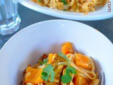 Crispy Tofu & Rice Noodles in Red Curry Coconut Sauce