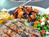 Grilled Pork Chops with Apple Parmesan Salad
