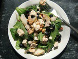 Mixed Greens Salad with Grilled Chicken, Blueberries, Pears & Feta