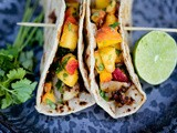 Chipotle fish tacos with cilantro peach salsa