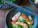 Furikake Brussel Sprouts and Shrimp