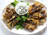 Grilled Tandoori Skewers with Cucumber Mint Raita