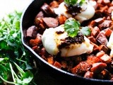 Harissa sweet potato hash w/ Merguez Sausage and Eggs
