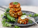 Jalapeño Cheddar Corn Fritters with Cilantro Cream