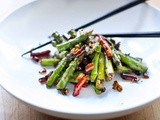 Szechuan Asparagus with Chili, Garlic, Black bean Sauce