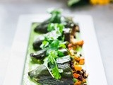 Vegan Stuffed Poblanos with Avocado-Cilantro Sauce