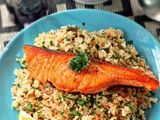Butter Fried Rice with Pan-Seared Salmon