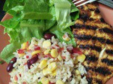 Chicken with Rice, Avocado and Bean-Corn Salad