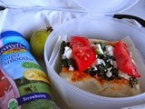 Spinach Tomato And Feta Cheese Pizza On Naan: Inspired by Ingredients From Trader Joes