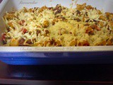 Chicken Macaroni Casserole With Mozzarella/Easy One Pot Meal