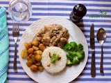 Lemon Chicken Cooked in Creamy Mushroom Sauce Served with Steamed Broccoli, roasted new Potatoes and Rice