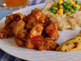 Orange Chicken with Walnut, Aprictots and Cranberry served with Mashed Potatoes and Veggies