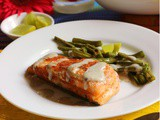 Salmon Fish Fillet with Green Peas Mash , Green Beans and Rosemary Roasted Garlic Potatoes