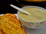 Parmesan garlic bread with broccoli potato soup