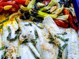 Roasted Vegetables with Roasted Branzino