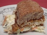 Corn Chip-Crusted Fish Sandwich with Creamy Cole Slaw