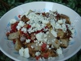 Fried Potatoes with Red Pepper and Blue Cheese