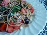 Pan-Fried Spaghetti with Olives, Tomatoes, and Swiss Chard