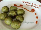 Spinach - Brown Rice Neer Urundai / Spinach - Brown Rice Balls / Diet Friendly Recipe - 28 / #100dietrecipes