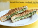 Vegetable Cheese Sandwich Using Spinach - Mint Chutney