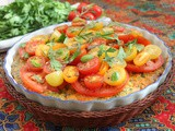 Tomato Salad Topped Baked Spinach Frittata