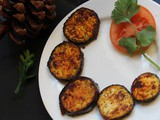Baigan bhaja (Bengal style shallow fried marinated slices of Aubergines)