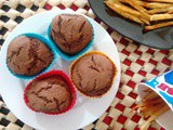 Eggless Butter less Whole Wheat Chocolate Muffins