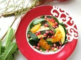 Ginseng Leaf Salad with Pomegranate, Orange and Green Thai Mango