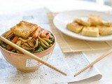 Sichuan Pepper & Crusty Tofu Stir Fry on Green Tea Soba Noodles