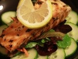 Grilled Salmon w/ Cucumber Salad