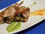 Pan Roasted Rabbit w/ Mint Pea Puree & Ginger Carrot Sauce