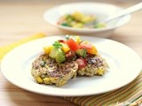 Quinoa Corn Cakes w/ Peach, Avocado & Tomato Salsa w/ Eat.Drink.Love