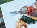 Seared Barramundi w/ Persimmon Pear Chutney & Sauteed Rainbow Chard