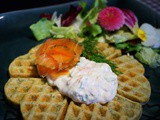Spinach Waffles and Salmon Mousse